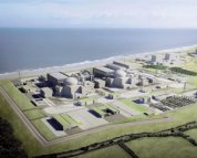 Artwork illustration of the Hinkley Point C project in Somerset, England. Two 1,600 MW gross EPR-type reactors will start operation in 2025 and 2026, respectively. (Courtesy: Foro Nuclear)
