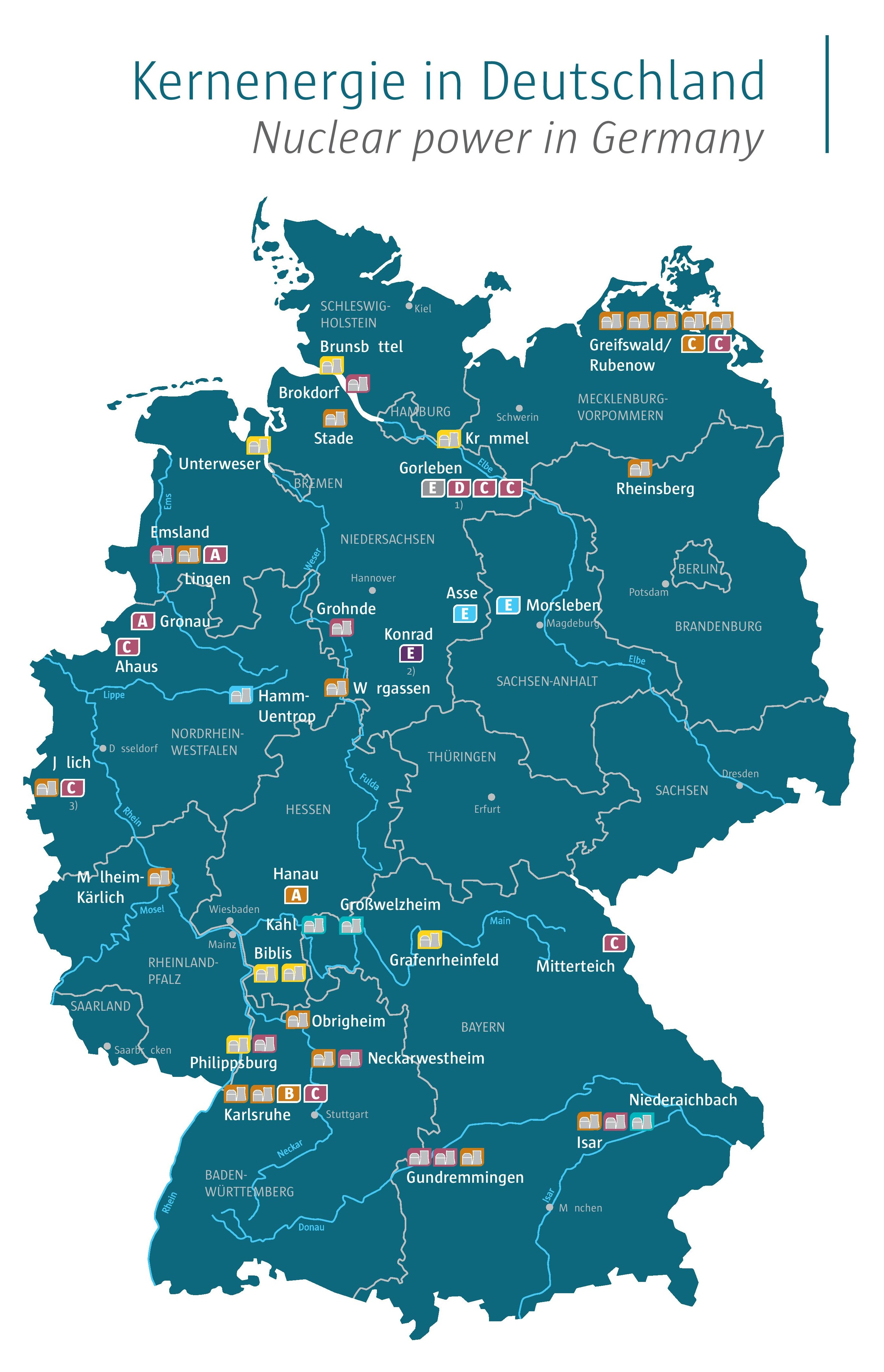Nuclear Power Plants In Germany Kernenergiede Informationen - Map of all nuclear power plants in the us